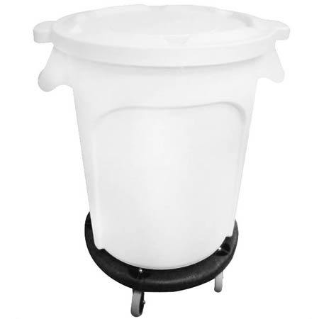 "Economy 32 Gallon Mobile Ingredient Bin with Lid and Dolly 26-1/2""W"