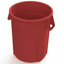 Impact 32-Gallon Red Round Trash Container