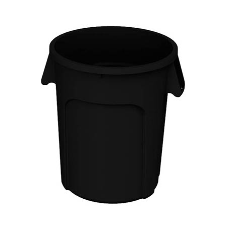 Impact 32-Gallon Black Round Trash Container