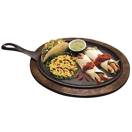 "Tomlinson Cast Iron Oval Fajita Platter with Wood Holder Set 10"" x 7"""