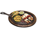 Tomlinson Cast Iron Oval Fajita Platter with Wood Holder Set 10\x22 x 7\x22