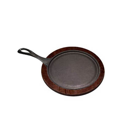 "Tomlinson 9"" Cast Iron Round Fajita Platter with Wood Holder Set"