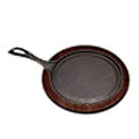 Tomlinson 9\x22 Cast Iron Round Fajita Platter with Wood Holder Set