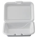 White Take Out Hinged Foam Clamshell 9-1/4\x22 x 6-1/2\x22 x 2-7/8\x22