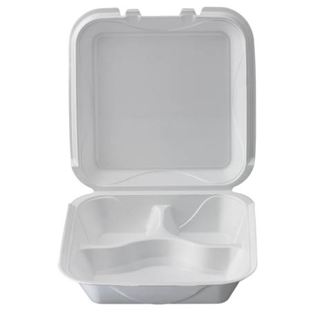 "White Take Out 3-Compartment Hinged Foam Clamshell 9-1/4"" x 9-1/4"" x 3"""