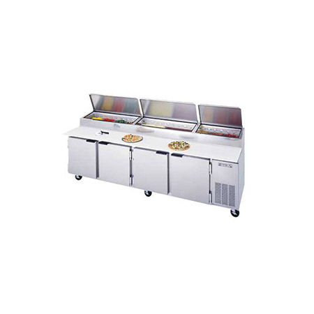 "Beverage-Air 52.5 cu. ft. 4-Door Pizza Prep Table 119""W"