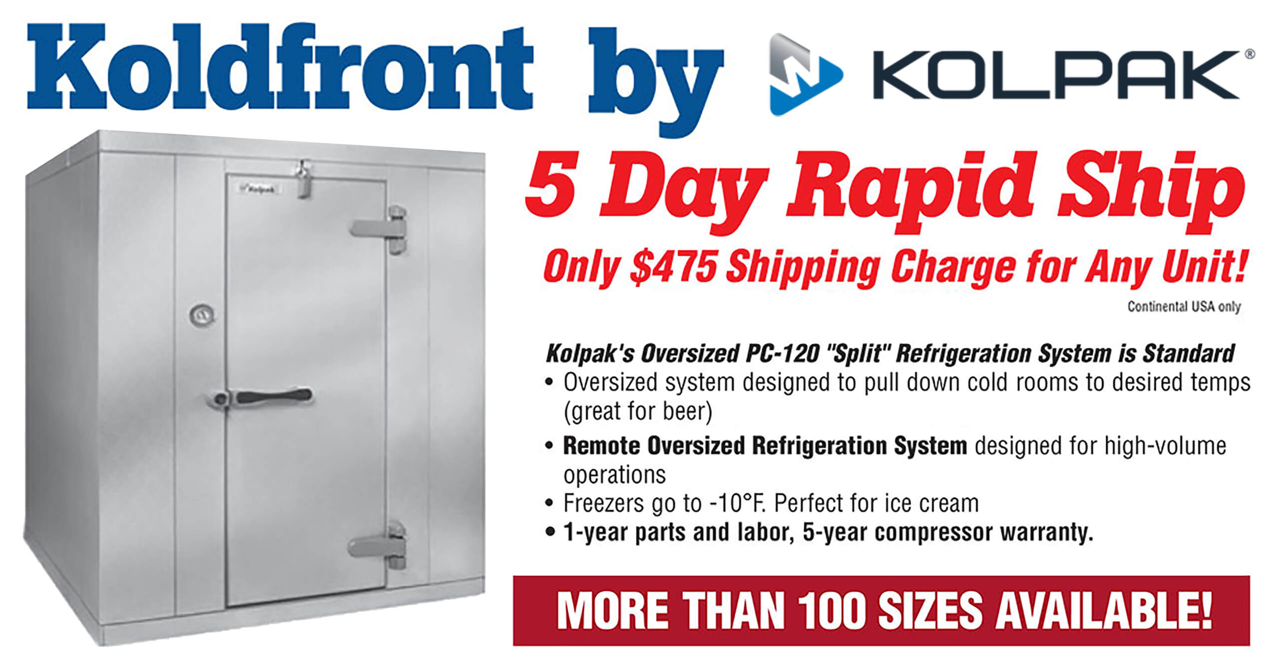 Koldfront by Kolpak Flat Rate Shipping