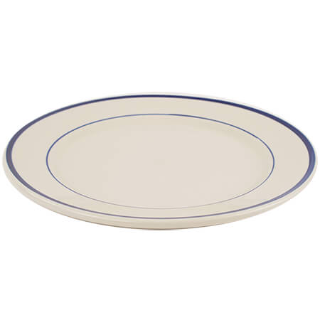 "ITI 10-1/2"" American White Plate with Blue Striped Rim"