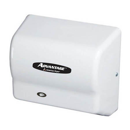 American Dryer Advantage Fast Drying Automatic Hand Dryer with White Steel Cover