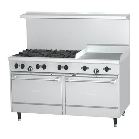 "Garland Sunfire 6-Burner Natural Gas Range with 24"" Griddle 60""W"