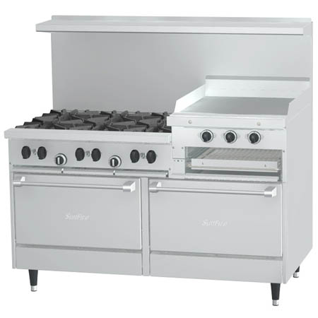 "Garland Sunfire 6-Burner Natural Gas Range with 24"" Raised Griddle and Broiler 60""W"