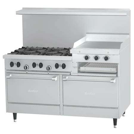 "Garland Sunfire 6-Burner LP Gas Range with Griddle and Broiler 60""W"