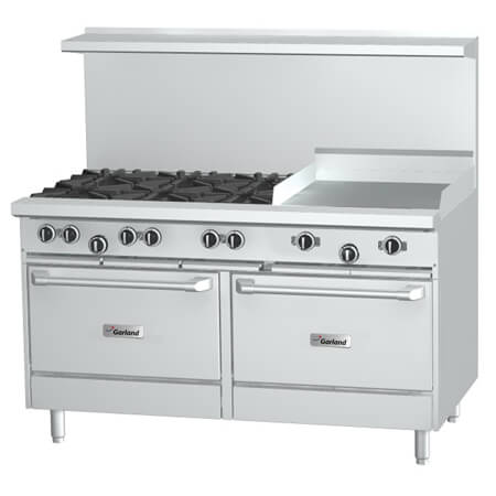 "Garland 6-Burner Natural Gas Range with 24"" Griddle 60""W"