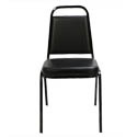 Black Metal Frame Blended Leather Seat Cushion Stack Chair with Memory Foam