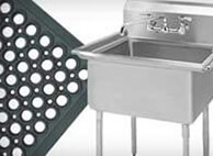 Commercial grade sinks, dishwashing, and maintenance supplies