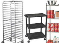 Shelving, bus carts, racks