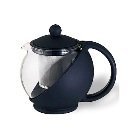 Service Ideas 20 oz. Black Plastic Tea Press with Glass Liner