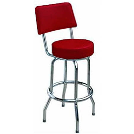 Single Ring Contemporary Swivel Bar Stool with Chrome Base and Red Vinyl Seat