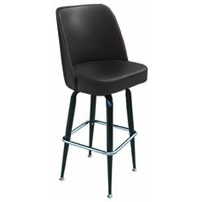 Incredible Single Ring Swivel Bar Stool With Black Base And Black Vinyl Bucket Seat Uwap Interior Chair Design Uwaporg
