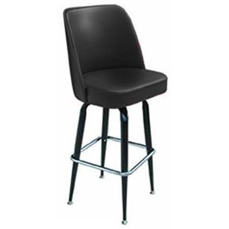 Single Ring Swivel Bar Stool with Black Base and Black Vinyl Bucket Seat