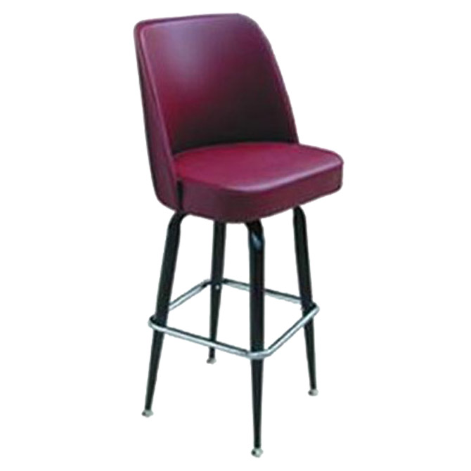Awe Inspiring Single Ring Swivel Bar Stool With Black Base And Crimson Vinyl Bucket Seat Creativecarmelina Interior Chair Design Creativecarmelinacom