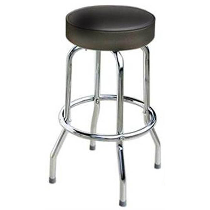 Single Ring Swivel Bar Stool With Chrome Base And Black