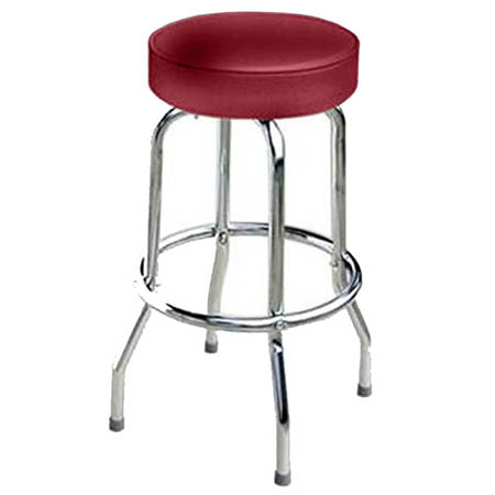 Single Ring Swivel Bar Stool with Chrome Base and Crimson Vinyl Seat