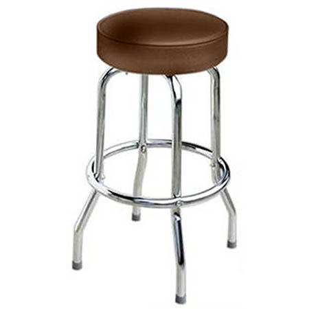 Single Ring Swivel Bar Stool with Chrome Base and Brown Vinyl Seat