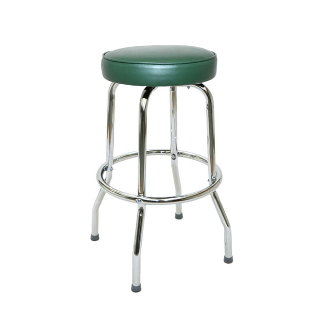Single Ring Swivel Bar Stool With Chrome Base And Green
