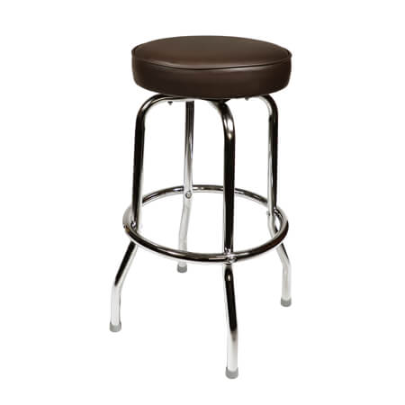 Inn Crowd Single Ring Swivel Bar Stool with Chrome Base and Brown Vinyl Seat