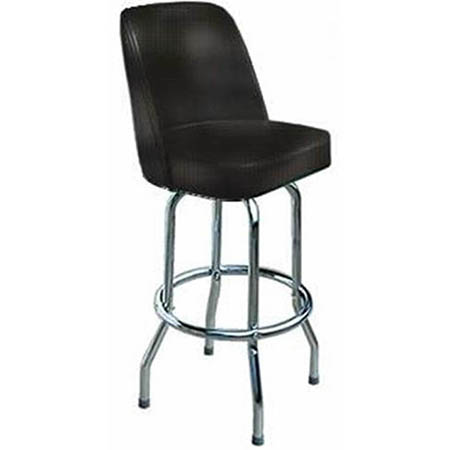 Single Ring Swivel Bar Stool with Chrome Base and Black Vinyl Bucket Seat
