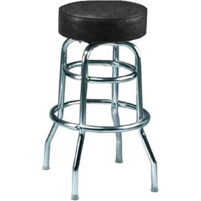 Double Ring Swivel Bar Stool With Chrome Base And Black