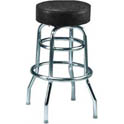 Double Ring Swivel Bar Stool with Chrome Base and Black Vinyl Seat