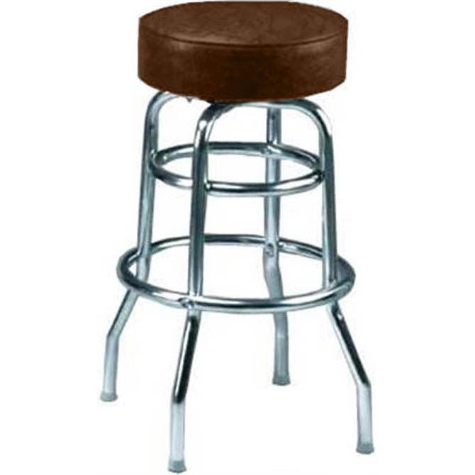 14 Inch Round X 29 3 4 Inch H Brown Seat Double Ring Bar Stool