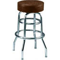 Double Ring Swivel Bar Stool with Chrome Base and Brown Vinyl Seat