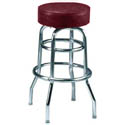 Double Ring Swivel Bar Stool with Chrome Base and Crimson Vinyl Seat