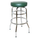 Double Ring Swivel Bar Stool with Chrome Base and Green Vinyl  Seat
