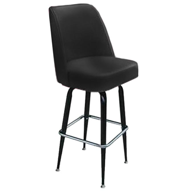 Single Ring Club Style Swivel Bar Stool With Black Base And Vinyl Seat
