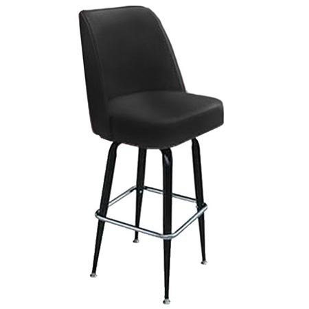 Black Swivel High Back Bar Stool 17 D X 19 W X 43 H
