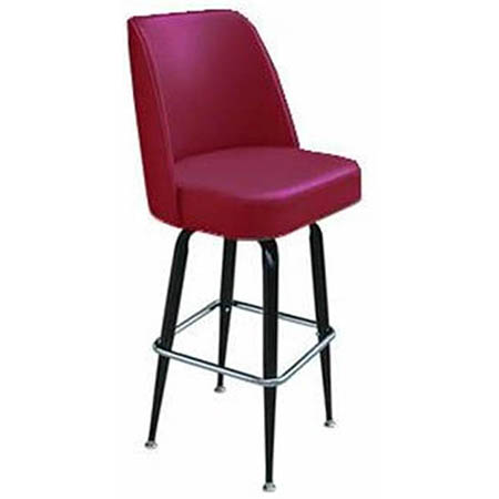 Single Ring Club Style Swivel Bar Stool with Black Base and Crimson Vinyl Seat
