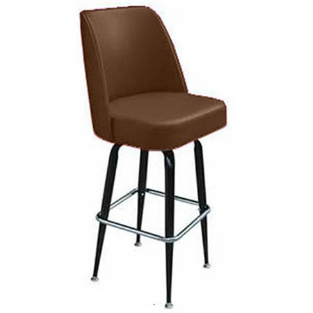 Single Ring Club Style Swivel Bar Stool with Black Base and Brown Vinyl Seat