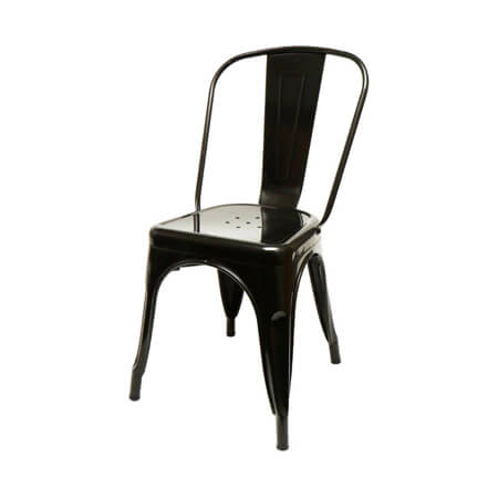 "Black Stamped Metal Chair with 14"" Seat"