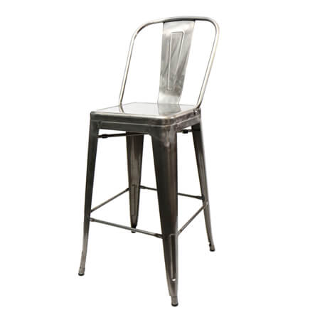 "Clear Coat Stamped Metal Bar Stool with XL 15"" Seat"