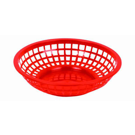 "Thunder Group Red Plastic Round Basket 8"" x 2"""