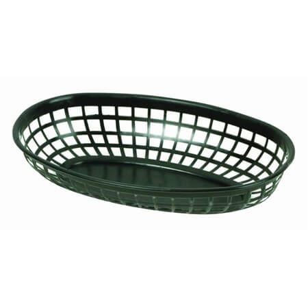 "Thunder Group Black Plastic Oval Basket 9-3/8"" x 5-5/8"" x 2"""