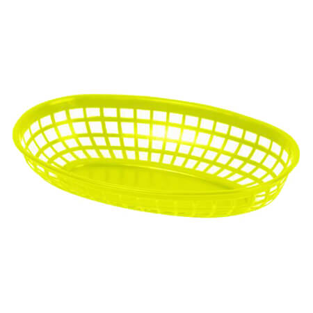 "Thunder Group Yellow Plastic Oval Basket 9-3/8"" x 5-5/8"" x 2"""