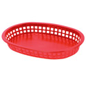 Red Plastic Oblong Basket 10-3/4\x22 x 7\x22 x 1-1/2\x22