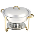 Bradford Hall 4-Quart Round Stainless Steel Chafer with Gold Plated Accents