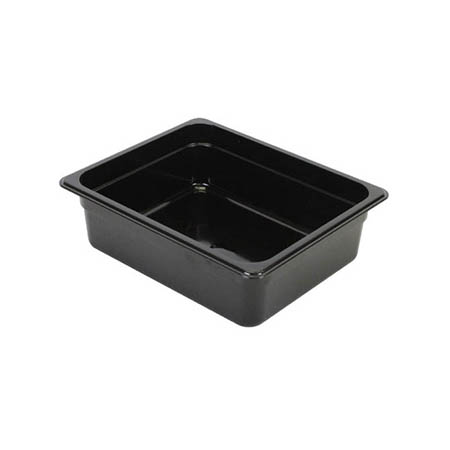 "Thunder Group 1/2-Size Black Food Pan 4"" Deep"