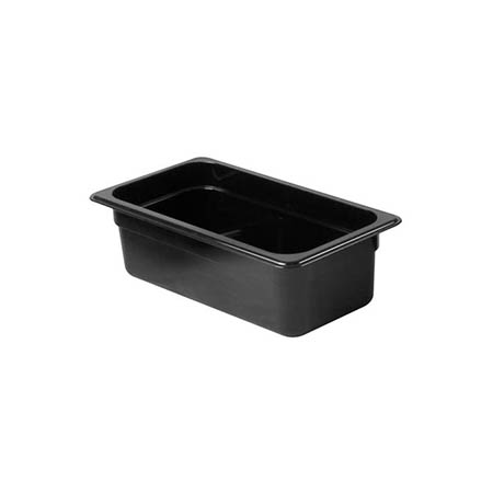 "Thunder Group 1/3-Size Black Food Pan 4"" Deep"